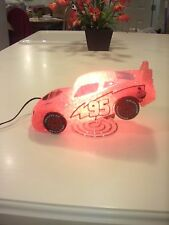 DISNEY PIXAR Lighning Mcqueen racing car nightlight lamp. Rust-eze Style. Red