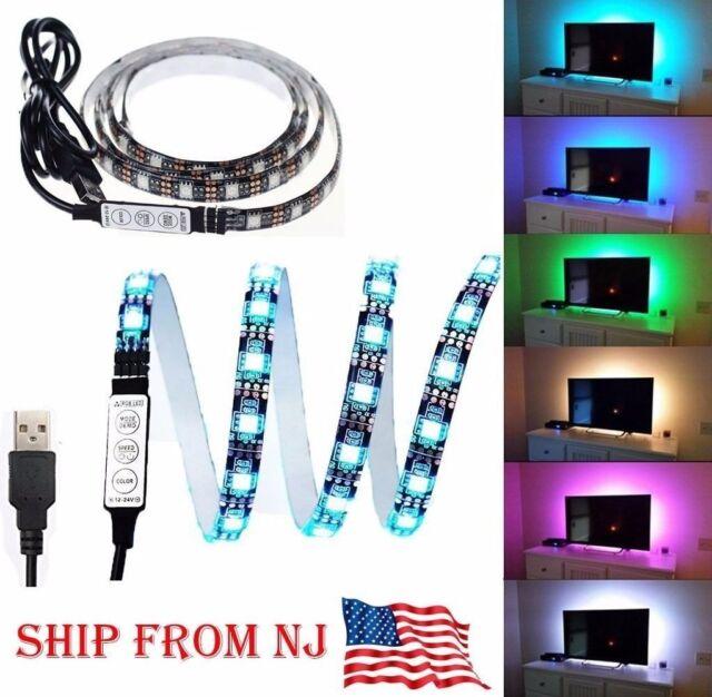 2X TV Computer Backlight 5V USB LED strip Light 5050 RBG Background Lighting 3FT