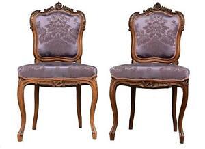 Paire-de-chaise-style-Louis-XV-noyer-et-soie