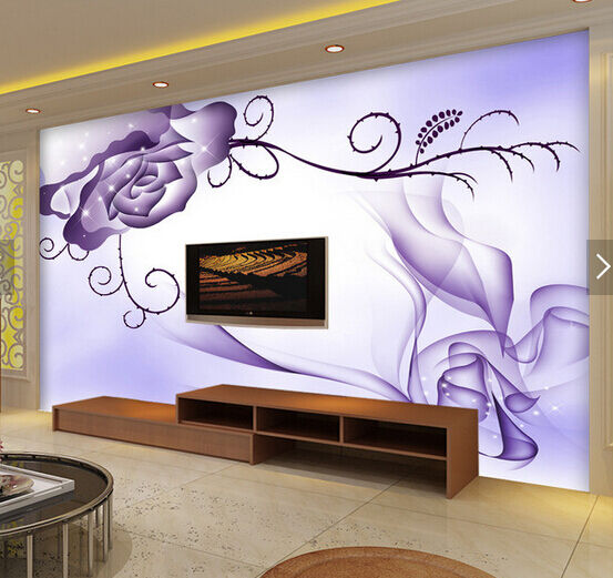 3D Purple Shiny Flowers 9643 Wall Paper Wall Print Decal Wall AJ WALLPAPER CA