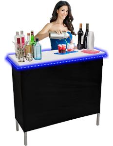 Portable Folding Party Bar w/ Black & Hawaiian Bar Skirts & LED Lights