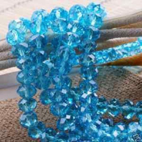 Naturel Facette Cristal Perles en vrac 3x4mm Bleu ciel Transparent 148PCS