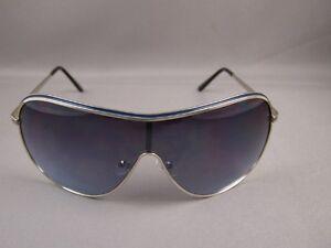 88284a993db Silver Blue metal frame full lens ombre wide big aviator sunglasses ...