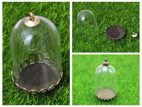 DIY Glass Cylinder Bottle Pendant with Bronze Base Memory Locket Wide Mouth Open