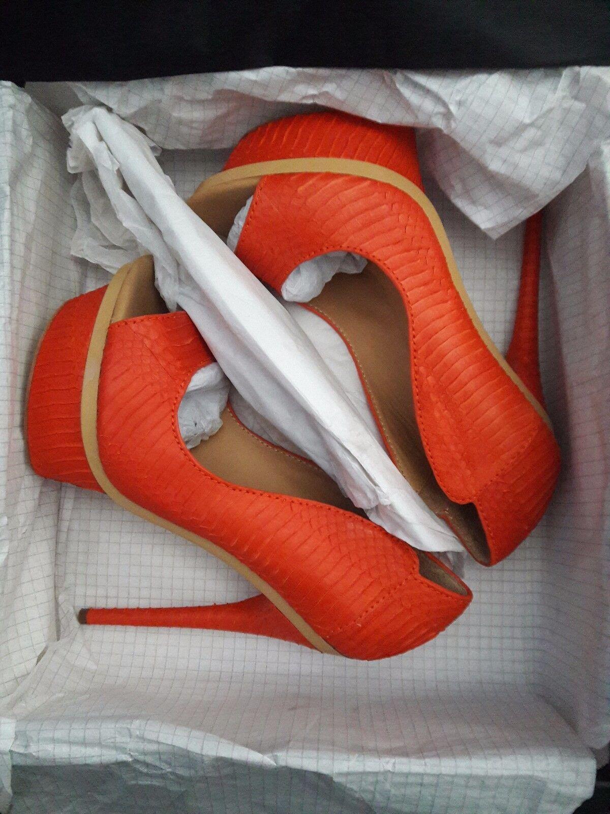 L.A.M.B. L.A.M.B. L.A.M.B. Ilane Coral Piel De Serpiente Cuero Peep Toe de salón con Plataforma Talla 8 97aa11