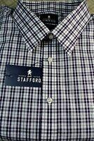 $60 Stafford Purple / Navy Plaid Dress Shirt Big & Tall Size 20 34/35