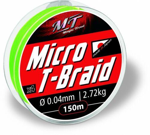 Geflochtene Forellenschnur Magic Trout 0,04mm Micro T-Braid 150m 2,72kg grün NEU