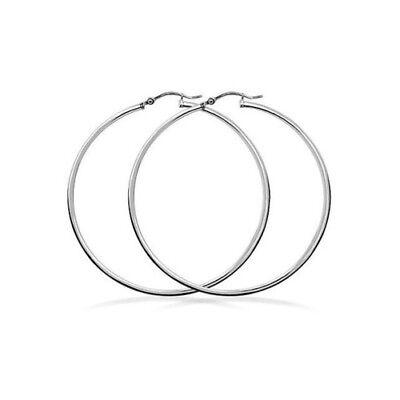 Womens 925 Sterling Silver Elegant  Shaped  Large Hoop Earrings