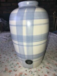 VTG-Blue-amp-White-Plaid-10-1-4-034-Tall-Vase-Harris-Pottery-Chicago-Illinois-USA-EUC