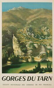 1950-S-original-travel-poster-ROHNER-Provence-Paysage-Gorges-du-Tarn-1951