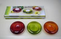 Tea Lite Candle Holders 3 Piece Set Colored Glass Elegant Free Shipping