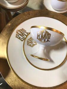 54PC BAVARIAN WHITE THOMAS CHINA SET/GOLD RIM & MONOGRAM~EXCELLENT