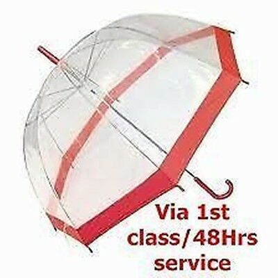 Clear Dome Umbrella with Red Coloured Border, Handle & Cap