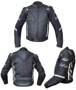 MENS-WARRIOR-ALL-BLACK-GP-RUSH-FLAG-MOTORBIKE-MOTORCYCLE-CE-ARMOUR-BIKER-JACKET