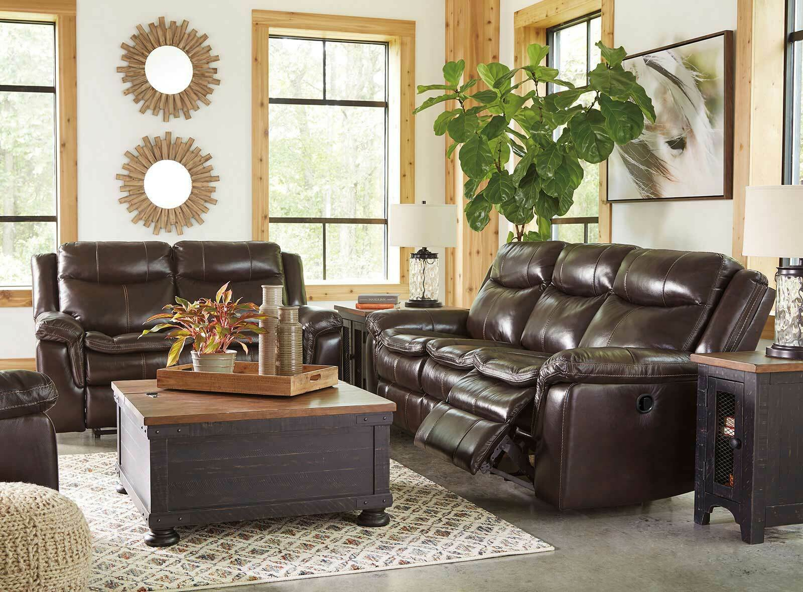 Brown Real Leather Reclining Sofa Couch