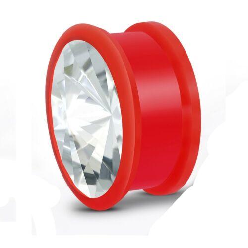 Oreja piercing Plug túnel g-18mm silicona expansor Elongadores circonita y-ttb168