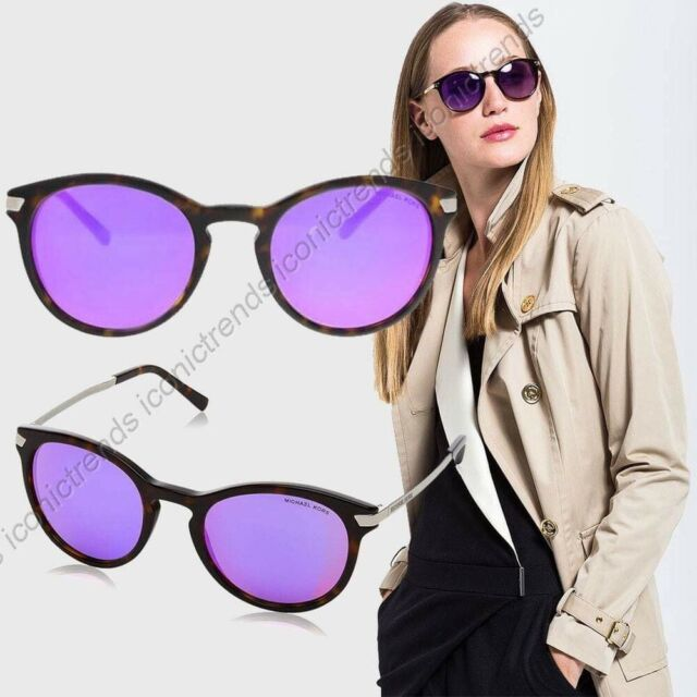 NWT Michael Kors Adrianna III MK2023 Dk Tortoise Purple Mirror 53mm Sunglasses