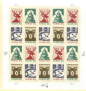 US-4207-4210-CHRISTMAS-KNIT-PANE-OF-20-41-CENT-STAMPS-S-1111-YR-2007