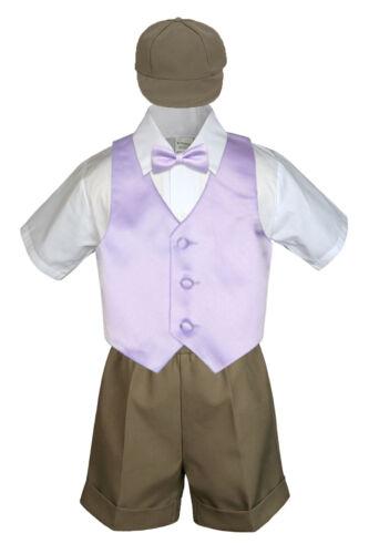 5pc Boy Toddler Formal Lilac Lavender Vest Bow Tie Black Khaki Hat Shorts S-4T