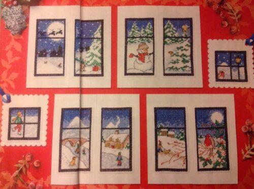 XX Escenas De Ventana De Nieve Tarjetas Etiquetas De Regalo Navidad Iglesia Robin cross stitch chart