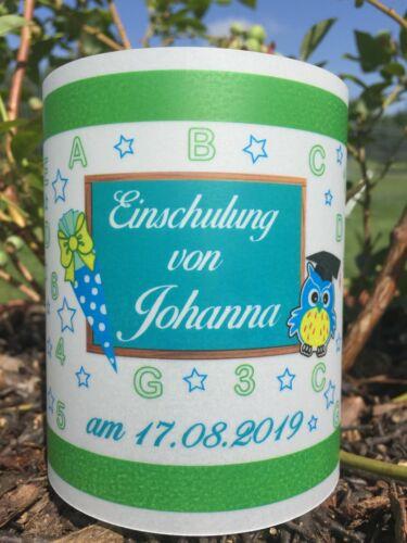 4x Tischlicht Schuleingang Windlicht Einschulung Grün Blau ABC mit Name,Datum