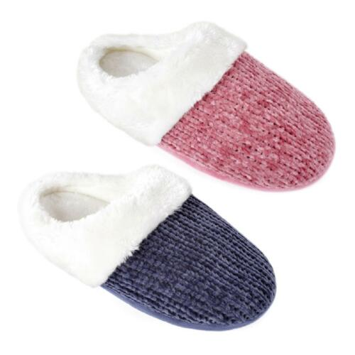 Ladies Chenille Knitted Mule Slippers