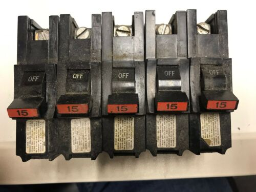 Used Federal Pacific NA 115 Thick Stab Lock 15 Amp Circuit Breaker Lot of 5