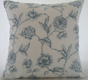 "Cushion cover made  in Marson Milton blue flowers fabric 17"" / 43cm square"