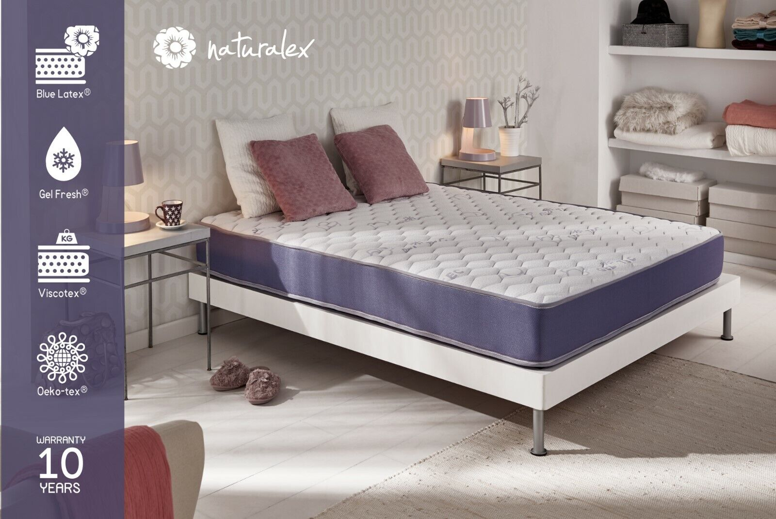 NATURALEX   Cool Blau Gel Memory Foam Mattress   Medium Firm Support   All Größes
