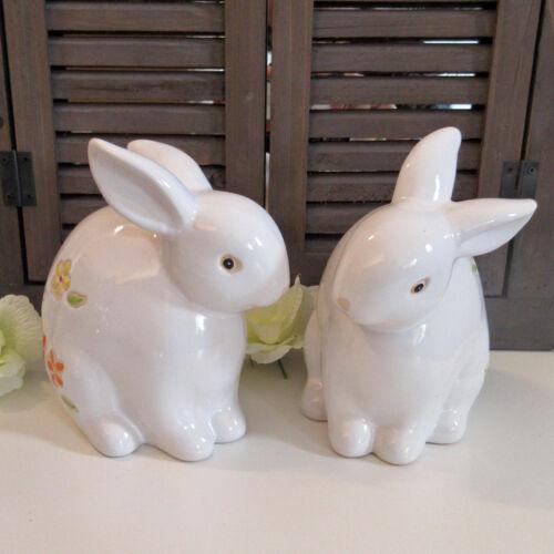 #10277 lapin de pâques 2er set deco personnage sculpture statue pâques blanc lapin céramique