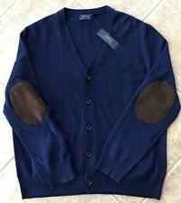 Polo Ralph Lauren V Neck Cardigan Sweater w/Elbow Patches Mens XL Navy NWT $185