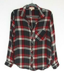 Anthropologie Cloth Amp Stone Women S Red Black Flannel