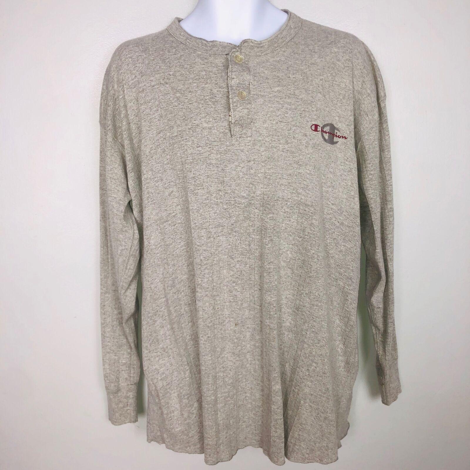 Champion Mens Top SZ L Gray Long Sleeve Crew Neck Athletic Logo Streetwear