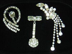 Lot-of-3-Vintage-1940-039-s-Pot-Metal-Brooches-Glass-Rhinestones-HALEY-039-S-COMET