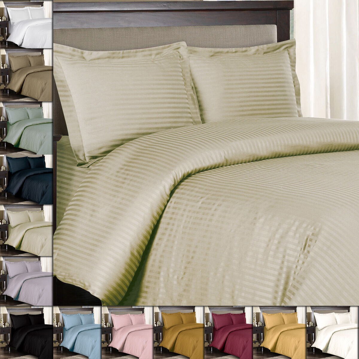 King Calking 100% Cotton 300 Thread Count Striped Sateen Weave Duvet Cover Sets
