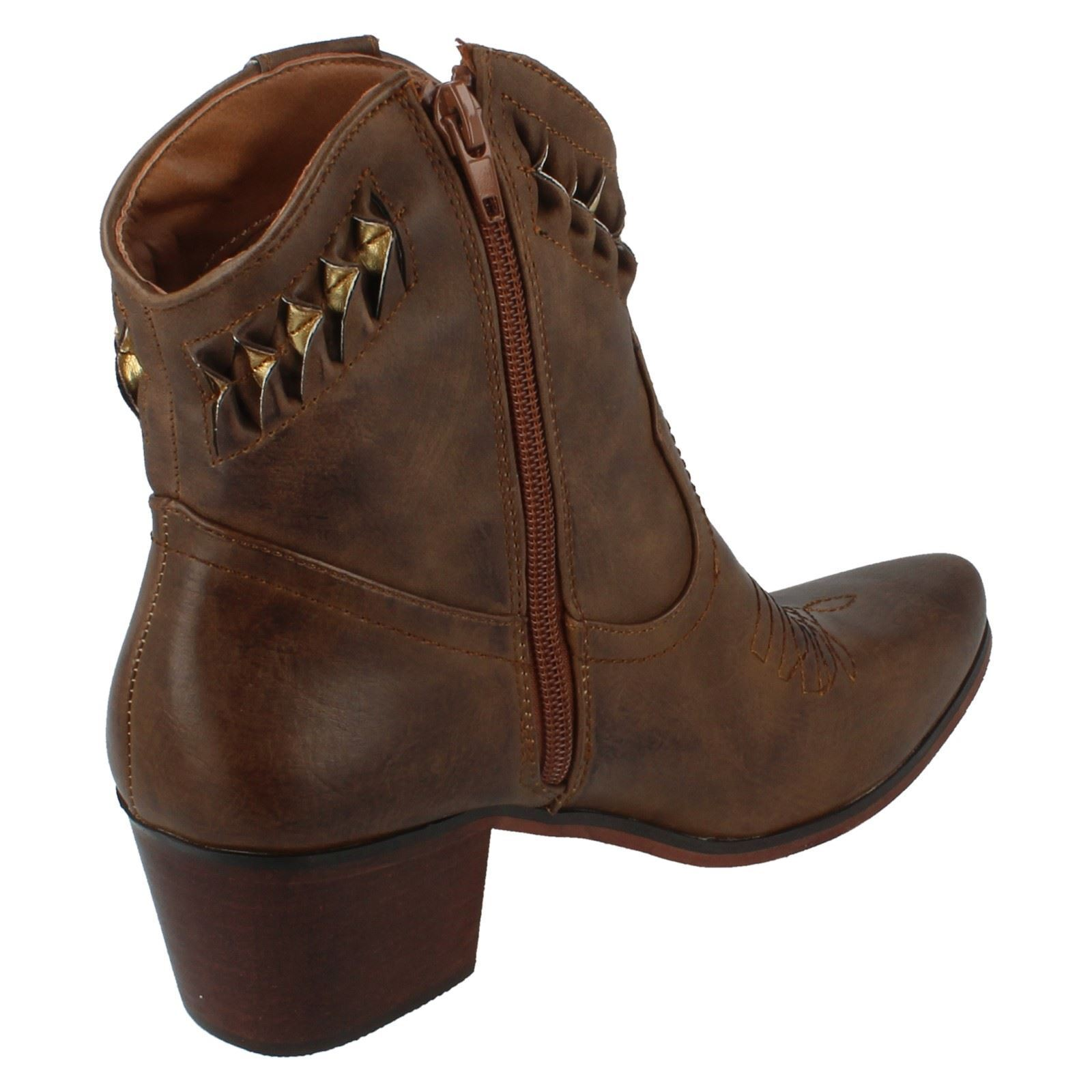 DOWN TO STYLE EARTH F5R0944 SMART COWBOY STYLE TO LADIES ANKLE Stiefel WARM WINTER ZIP UP a86cd5