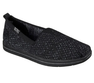 BOBS Skechers Women's Super Plush Flat 34427/BKGY Black/Gray Brand New