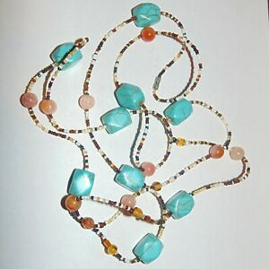 Turquoise-color-dyed-howlite-round-gemstone-glass-seed-beads-necklace-56-034-long