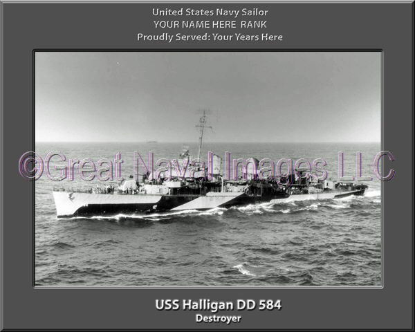 USS Halligan DD 584 Personalized Canvas Ship Photo Print Navy Veteran Gift