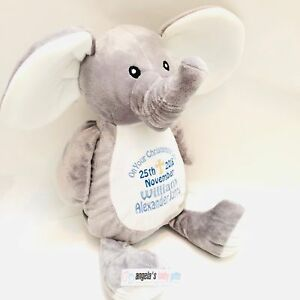 White Unicorn Personalised Embroidered Mumbles Teddy Bear Soft Toy Birth