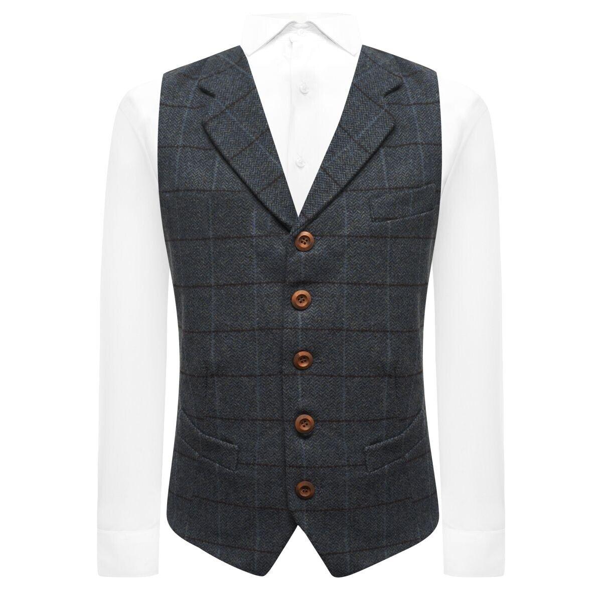 Luxury Aegean Blue Herringbone Check Waistcoat with Lapel, Tweed
