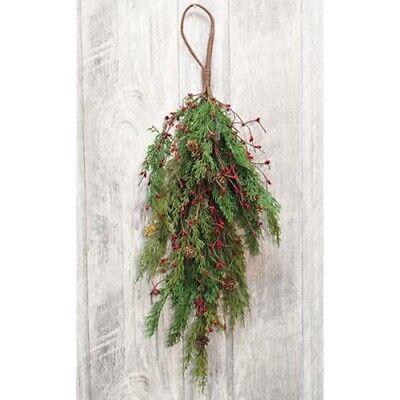 New Primitive Rustic Cabin Lodge RUST BELL HOMESPUN BERRY Christmas Pine Wreath