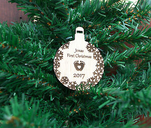Custom Bauble Wooden Baby first Christmas, White Oak