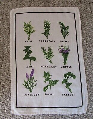 Vintage Smith Hawkins Herb Linen Kitchen Towel Collectible 30 5