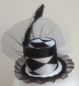 Black and White Harlequin mini top hat fascinator Smaller Version