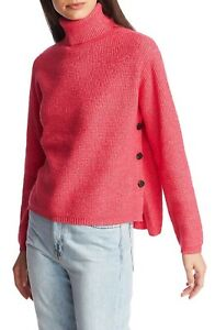 1-State-Women-039-s-Pink-Side-Button-Waffle-Stitch-Turtleneck-Sweater-3X-NWT