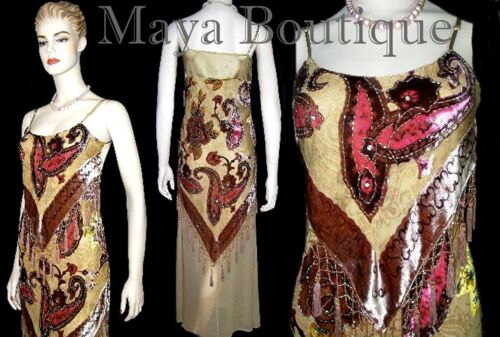MAYA BEADED SILK DRESS FLAPPER STYLE BURNOUT VELVET PAISLAYS S