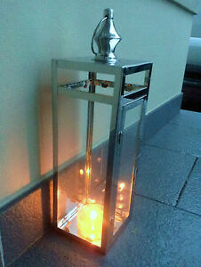LARGE-OUTDOOR-CANDLE-LANTERN-Polished-Stainless-Steel-Glass