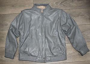 Women-039-s-Vintage-Bomber-Gris-100-Cuir-Veritable-Veste-Manteau-Taille-M-L