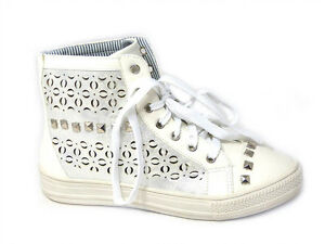 Ladies Hi Top Laced  Womens Sneaker Trainers White Studded Sizes 3/4/5/6/7/8